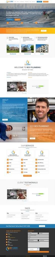 BCV plumbing full page NEW homepage 220x1024 - Basic Websites for Tradies - BCV Plumbing