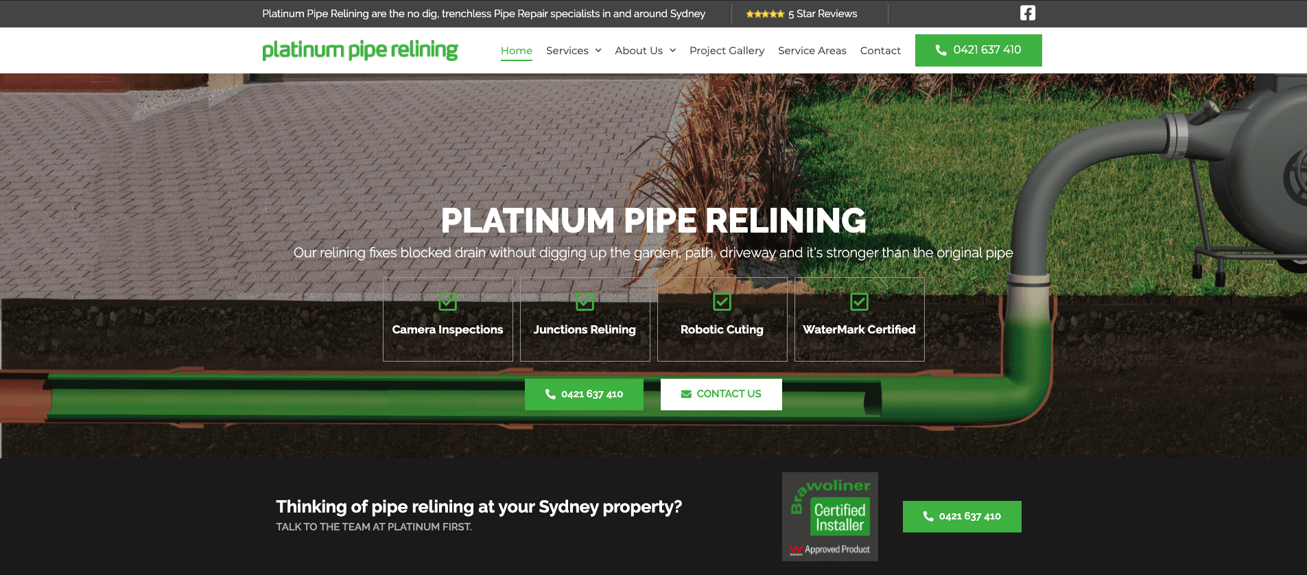 Platinum Pipe Relining Websites Homepage - Full website