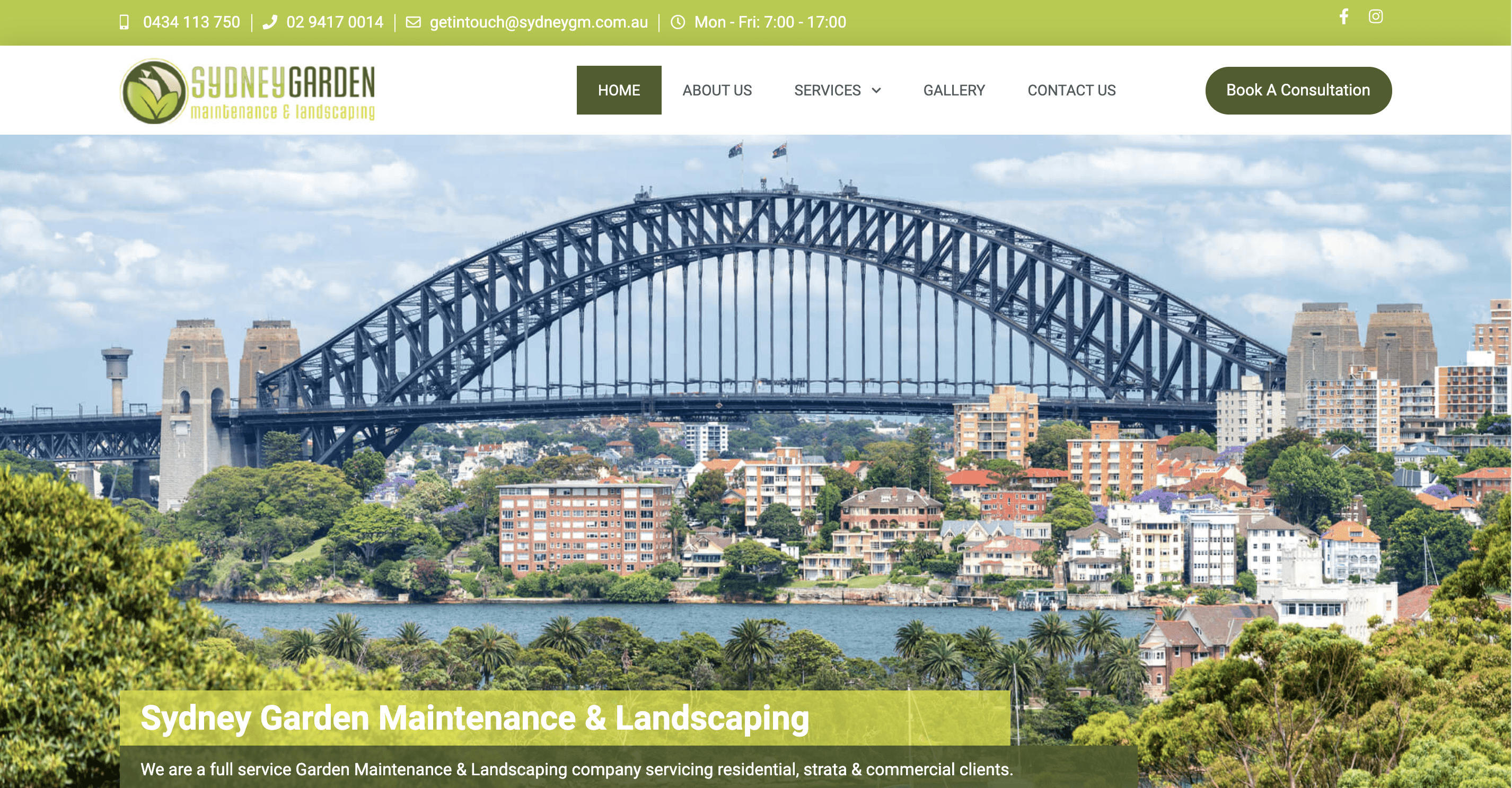 Sydney Gardening and Maintenance's landscaping website's homepage with green banners and an image of the Sydney Harbour Bridge