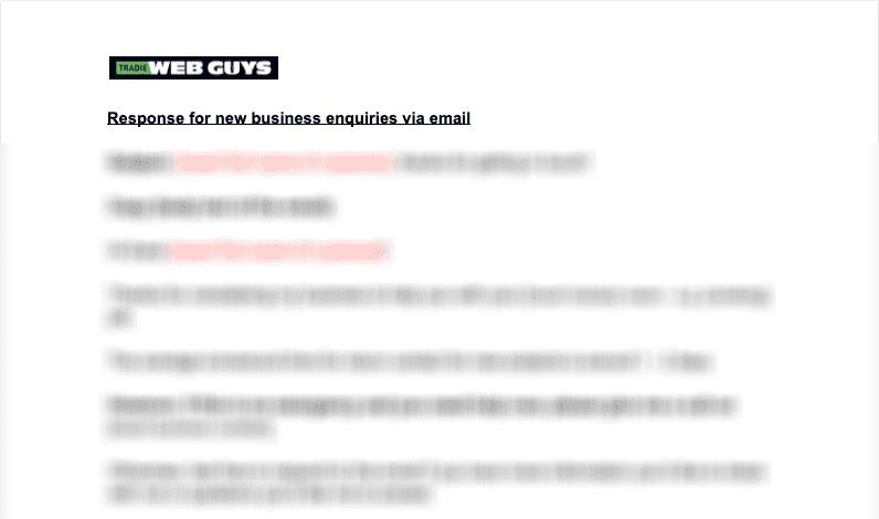 The auto responder email template - Tradie Consensus on Marketing Landing Page